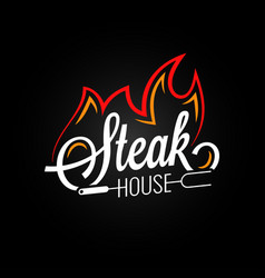 Steak house logo with fire on black background vector