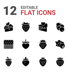 strawberry icons vector image