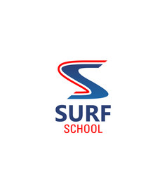 surf school emblem vector image