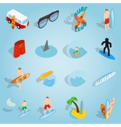 Surfing set icons isometric 3d style vector image