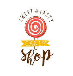 Sweet and tasty shop logo colorful hand drawn vector