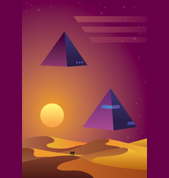 synthwave desert background vector image