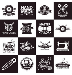 Tailor shop or atelier salon icons vector