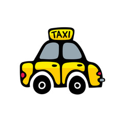 Taxi car in yellow colors isolated on white vector