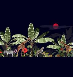 tropical vintage botanical landscape vector image