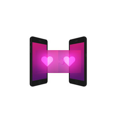 two smartphone with jigsaw puzzle 3d and heart vector image