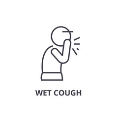 wet cough thin line icon sign symbol vector image