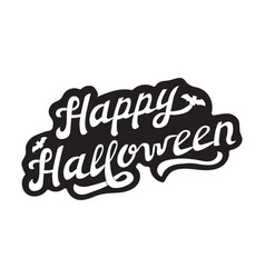 white hand drawn lettering happy halloween vector image vector image