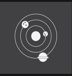 White icon on black background planets vector