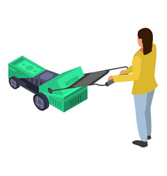 Woman use electric lawnmower icon isometric style vector