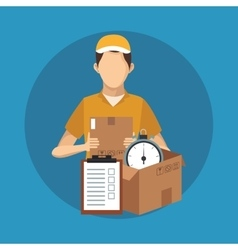 Box and man of delivery concept design vector image