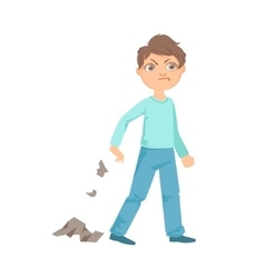 Boy Littering Teenage Bully Demonstrating vector image vector image