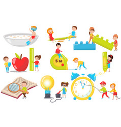 children playing measuring experimenting and vector image