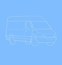 delivery van outline vector image vector image