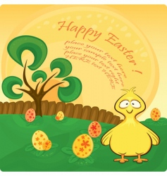 Easter card with chicken vector image