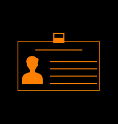 identification card sign orange icon on black vector image