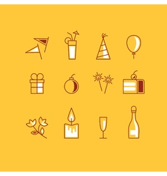New year and birthday identity icons set vector image vector image