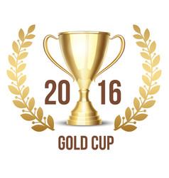 Trophy cup with laurel wreath 2016 vector image vector image