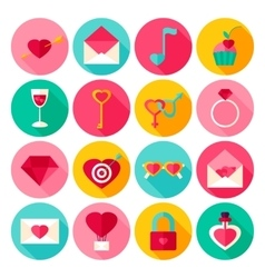 Valentines Day Flat Icons vector image vector image