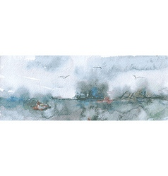 Watercolor banner with sea and sky vector image