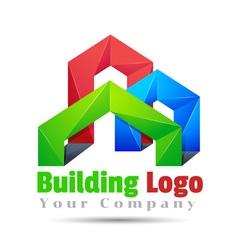 Commercial building Volume Logo Colorful 3d Design vector image vector image