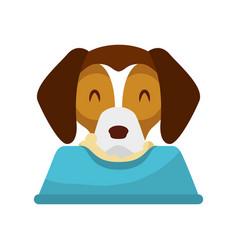 cute dog mascot with dish food vector image