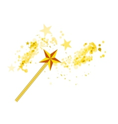 Magic wand with magic stars on white vector image vector image