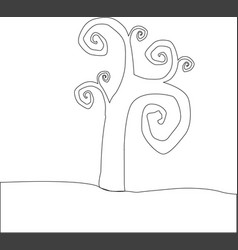 outline silhouette of tree with curly branches vector image