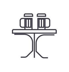 table with beer pub line icon sign vector image