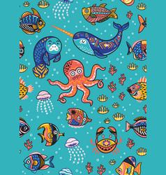 aquatic animals seamless pattern vector image vector image