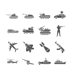Army military icons set vector image