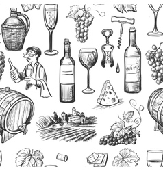 Hand drawn pattern of wine making vector image