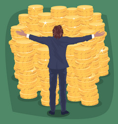 happy businessman near lot of gold coins money vector image vector image