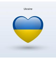 Love Ukraine symbol Heart flag icon vector image
