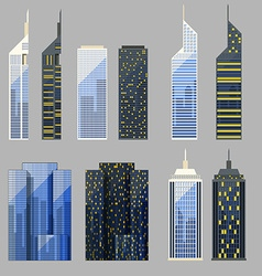 Set of detailed skyscraper vector image vector image