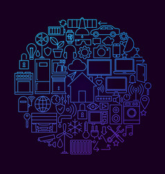 Smart house line icon circle concept vector