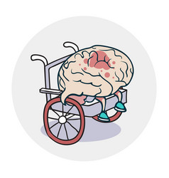 brain in a wheelchair vector image vector image