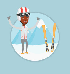 cheerful skier standing with raised hands vector image