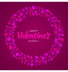 Colorful Hearts Circle Frame Valentines Day Card vector image vector image