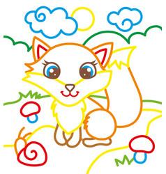 coloring book of cute fox vector image vector image