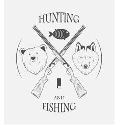 hunting and fishing logo vector image vector image