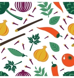 Seamless pattern with fresh vegetables and spices vector image vector image
