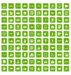 100 private property icons set grunge green vector image