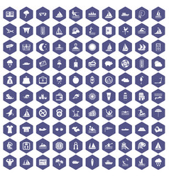 100 water sport icons hexagon purple vector