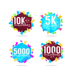1000 followers and members thank you frames vector image