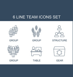 6 team icons vector