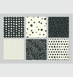 abstract seamless patterns with drawing polka dots vector image