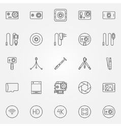 Action Camera icons set vector