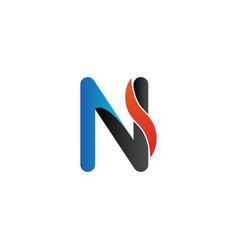 alphabet letter n initial letter with orange wave vector image