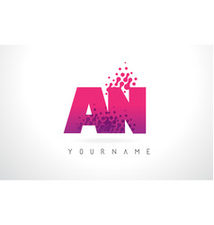 an a n letter logo with pink purple color and vector image